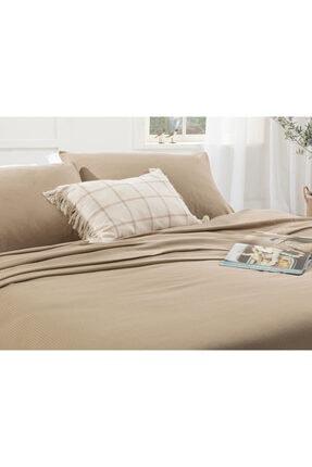 English Home Cool Stripe Soft Touch Çift Kişilik Pike Seti 200x220 Cm Bej 1