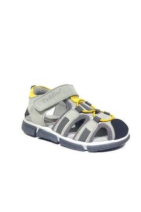 Toddler 2906-1 Ortopedik Hakiki Deri Erkek Çocuk Gri Sandalet 1