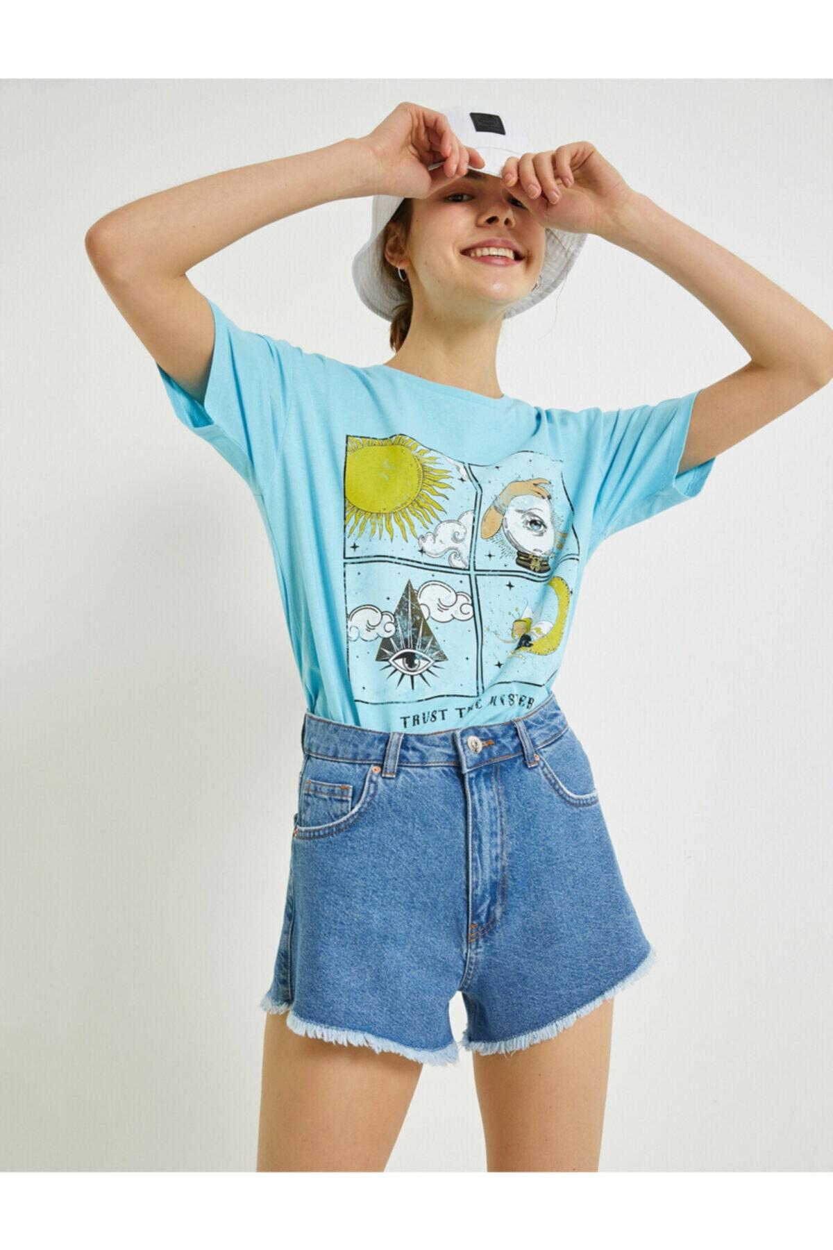Kadın Mavi Baskılı T-Shirt