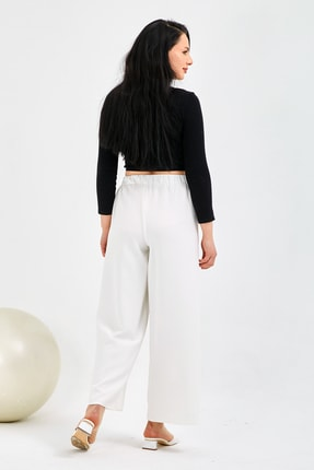 Gentekstil Kadın Beyaz Bel Lastikli Rahat Kesim Pantolon 1