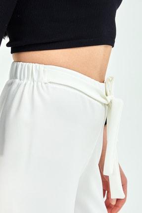 Gentekstil Kadın Beyaz Bel Lastikli Rahat Kesim Pantolon 3