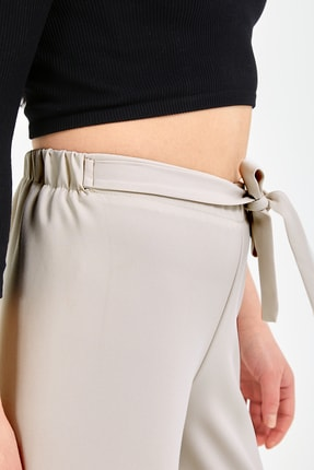 Gentekstil Kadın Bej Bel Lastikli Rahat Kesim Pantolon 3
