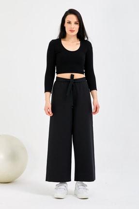 Gentekstil Genplus Kadın Siyah Bel Lastikli Rahat Kesim Pantolon 0