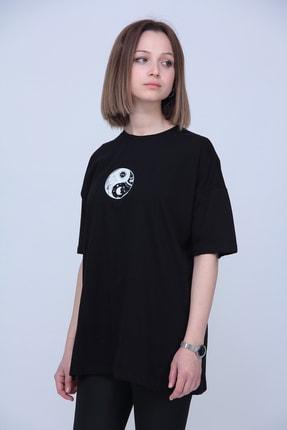 Black Sokak Kadın Siyah Yingyang Oversize T-Shirt 2