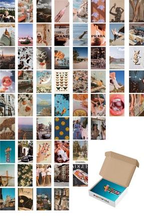 Postifull Retro Poster Kolaj Seti - 60 Adet - Vintage Poster Seti - 10cm*14cm - Kuşe Kağıt - Kutulu Set 0