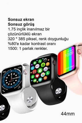 Black Dice Iphone Ve Android Uyumlu Watch 6 Plus Son Nesil Beyaz Yan Düğme Ileri Geri Ve Yakınlaştırma Aktif 1