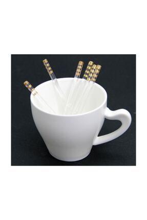 Fusha Gold Detaylı Yaldızlı Lüx Cam Çay Kaşığı 6'lı 2