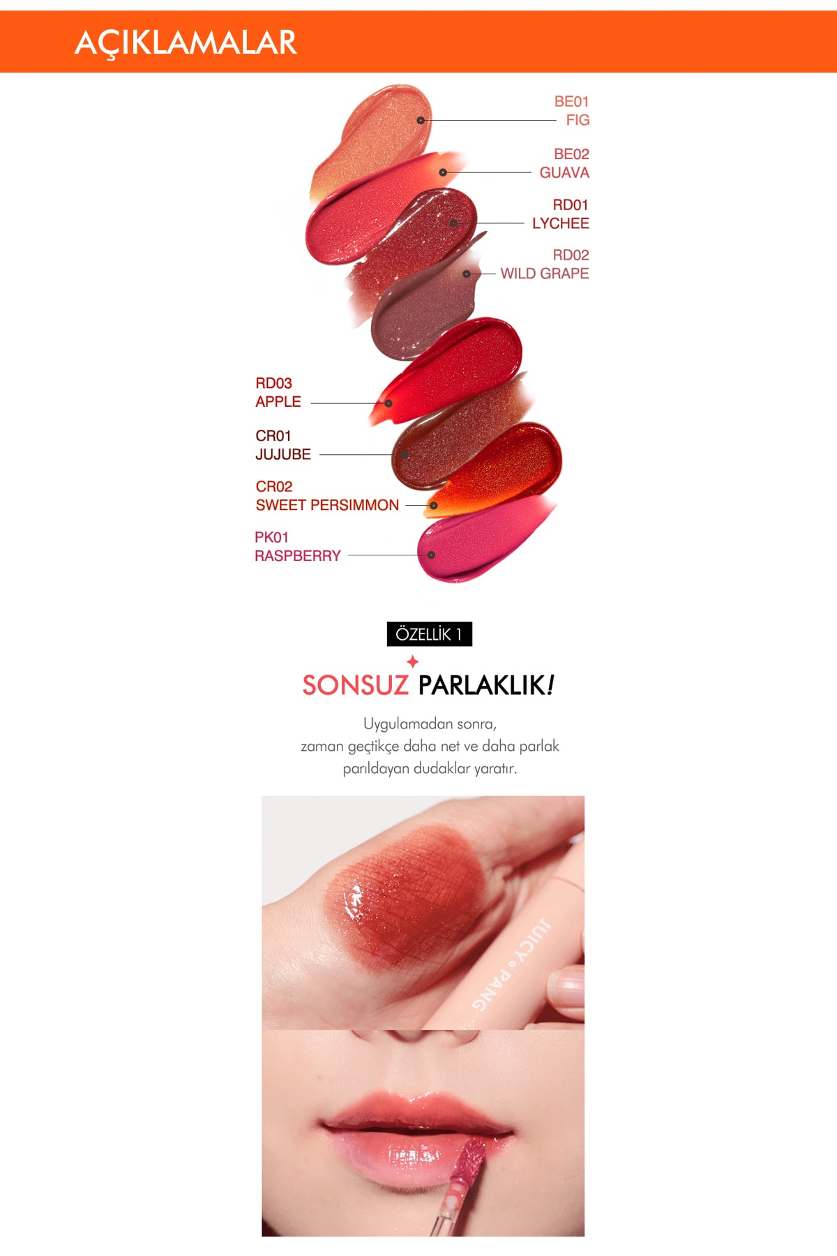 Missha Işıltı&Dolgunluk Veren Parlak Gloss Tint APIEU Juicy-Pang Sparkling Tint BE01 3