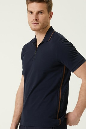 Network Erkek Slim Fit Lacivert Polo Yaka Şeritli T-shirt 1078381 1