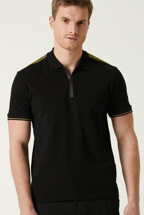 Network Erkek Slim Fit Siyah Polo Yaka T-shirt 1078379 1