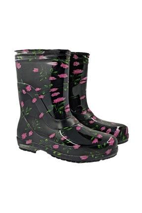 fafatara Kadın Mor Renk Çiçekli Iş Bahçe Yağmur Çizmesi 1