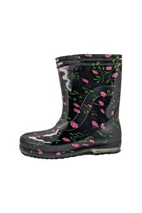fafatara Kadın Mor Renk Çiçekli Iş Bahçe Yağmur Çizmesi 4