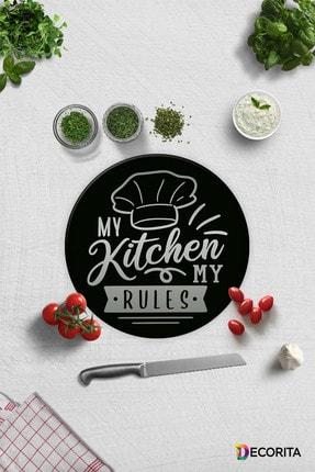 Decorita My Kitchen My Rules | Cam Kesme Tahtası - Cam Kesme Tablası | Çap 32cm 0