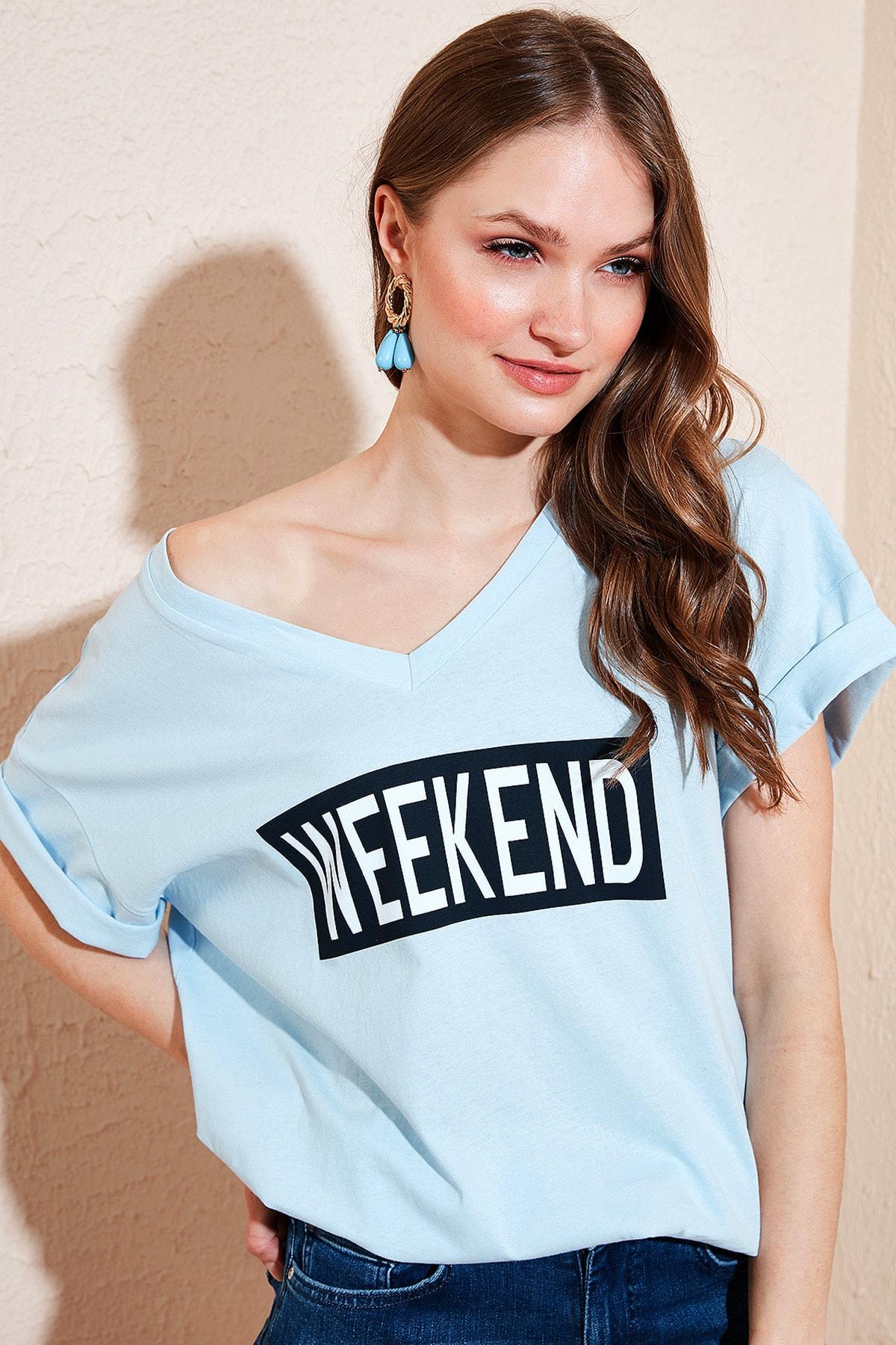 Kadın Mavi  % 100 Pamuklu Baskılı V Yaka T Shirt 6010022