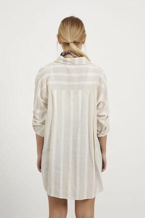Arma Life Kadın Taş Çizgili Tek Cep Keten Gömlek 4