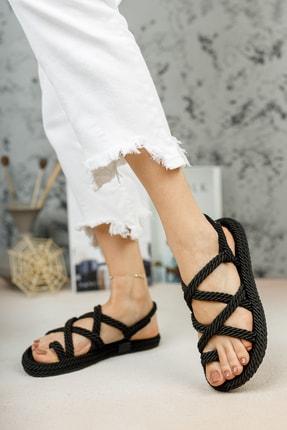 meyra'nın ayakkabıları Halat Sandalet Siyah 2