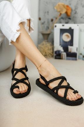 meyra'nın ayakkabıları Halat Sandalet Siyah 3