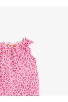 Koton Kız Bebek Pembe Desenli Tulum Çitçitli Pamuklu Saç Aksesuarli 2