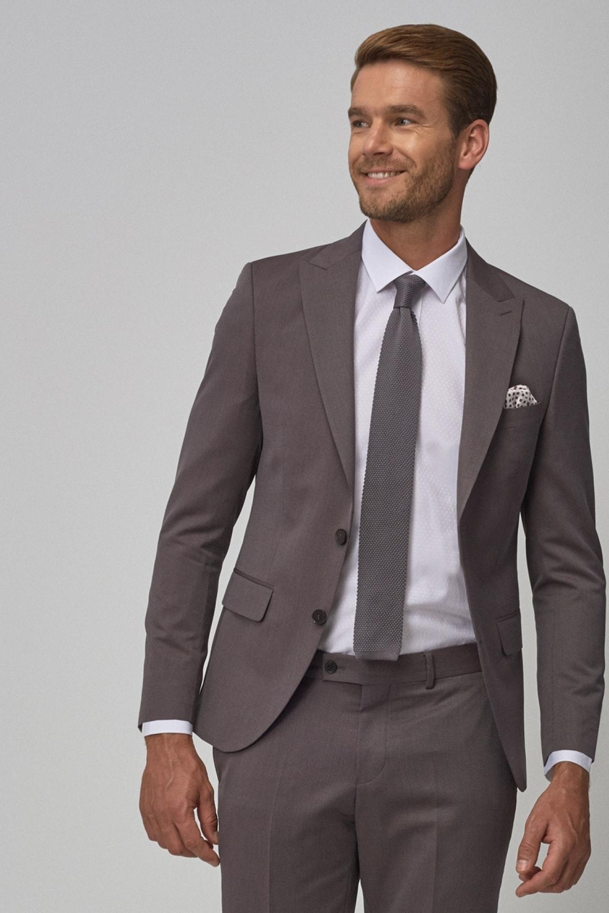ERKEK Bordo-Gri Ekstra Slim Fit Dar Kesim Desenli Bordo-Gri Su Geçirmez Nano Takım Elbise
