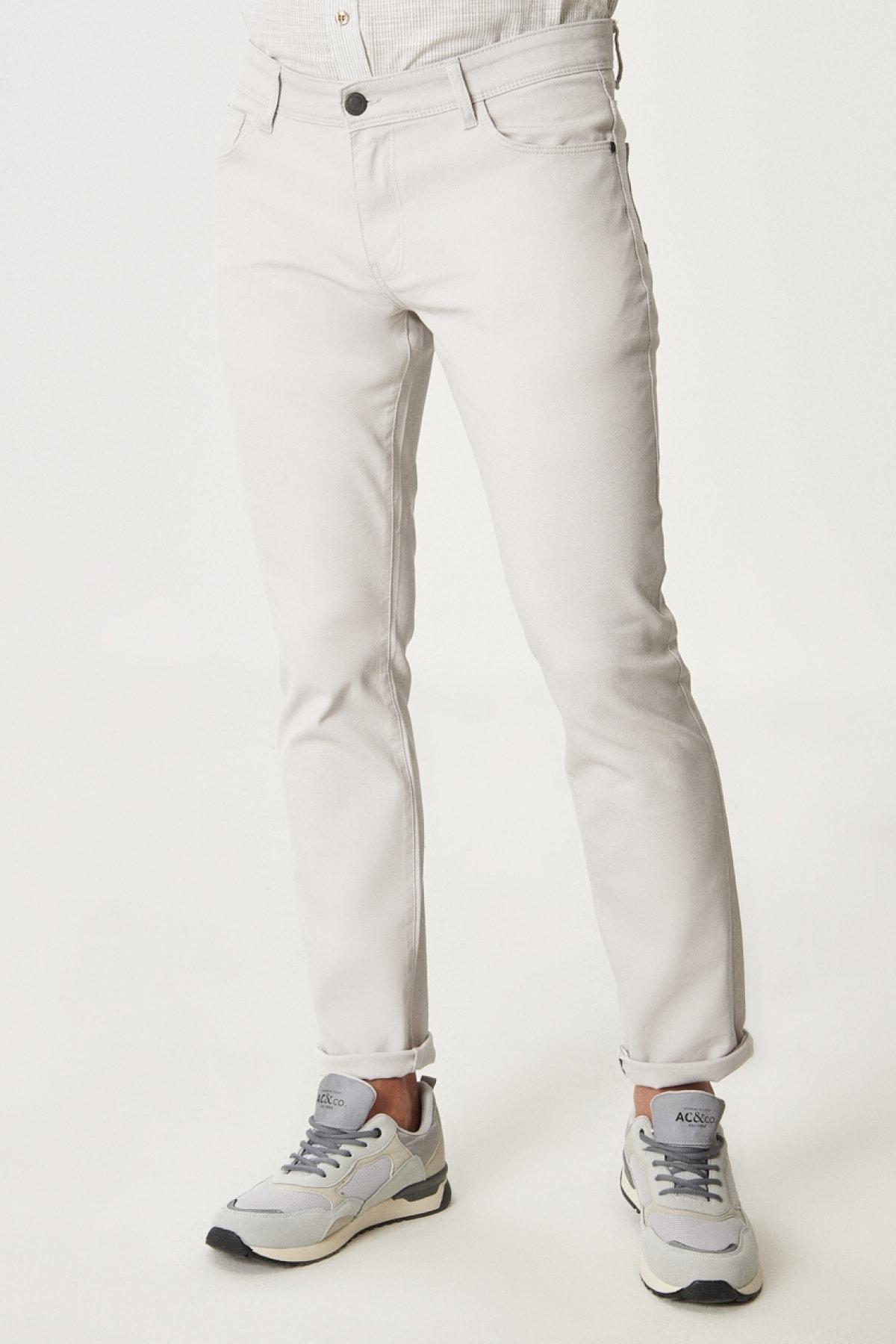 Erkek Taş Kanvas Slim Fit Dar Kesim 5 Cep Pantolon