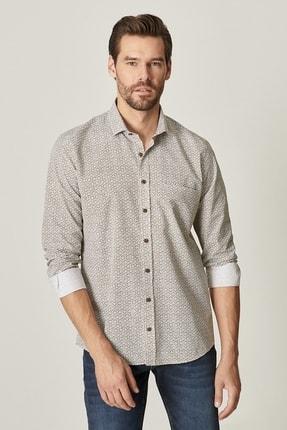 Altınyıldız Classics Erkek Haki Tailored Slim Fit Dar Kesim Küçük Italyan Yaka Baskılı Gömlek 0