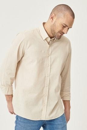 Altınyıldız Classics Erkek Bej Tailored Slim Fit Dar Kesim Düğmeli Yaka %100 Koton Gömlek 2