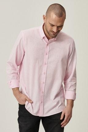 Altınyıldız Classics Erkek Pembe Tailored Slim Fit Dar Kesim Düğmeli Yaka %100 Koton Gömlek 2