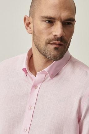 Altınyıldız Classics Erkek Pembe Tailored Slim Fit Dar Kesim Düğmeli Yaka %100 Koton Gömlek 3