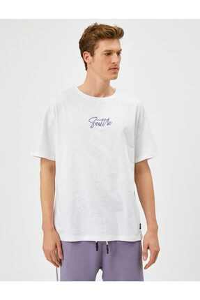 Koton Erkek Beyaz Yazı Baskılı T-Shirt 2