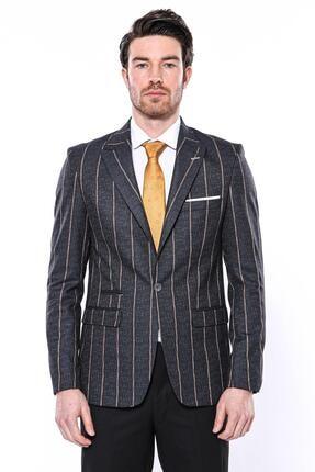 Erkek Füme Çizgili Slim Fit Ceket CY-1202