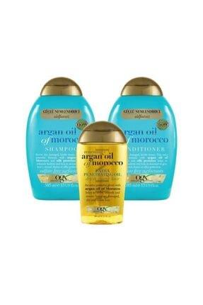 OGX Nemlendirici ve Canlandırıcı Argan Oil Morocco Sülfatsız Şampuan+Bakım Kremi 385ml+Yağ 100ml 0