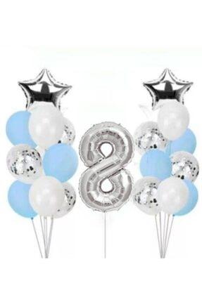 BeySüS Konfetili Şeffaf Balon Seti Doğum Günü Parti Seti 8 Yaş 0