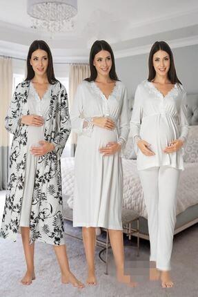 Effort Pijama Zerre Bebe Kadın Beyaz Uzun Kollu Pijama Takımı Gecelik Sabahlık Lohusa Hamile 4'lü Set 0