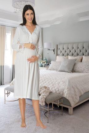 Effort Pijama Zerre Bebe Kadın Beyaz Uzun Kollu Pijama Takımı Gecelik Sabahlık Lohusa Hamile 4'lü Set 1