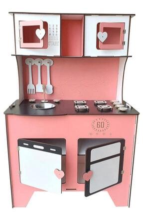 WoodyLife 104 cm Çocuk Odası Ahşap Mutfak Montessori Oyuncak Dolabı Zeytindalı Pembe Oyunevi 0