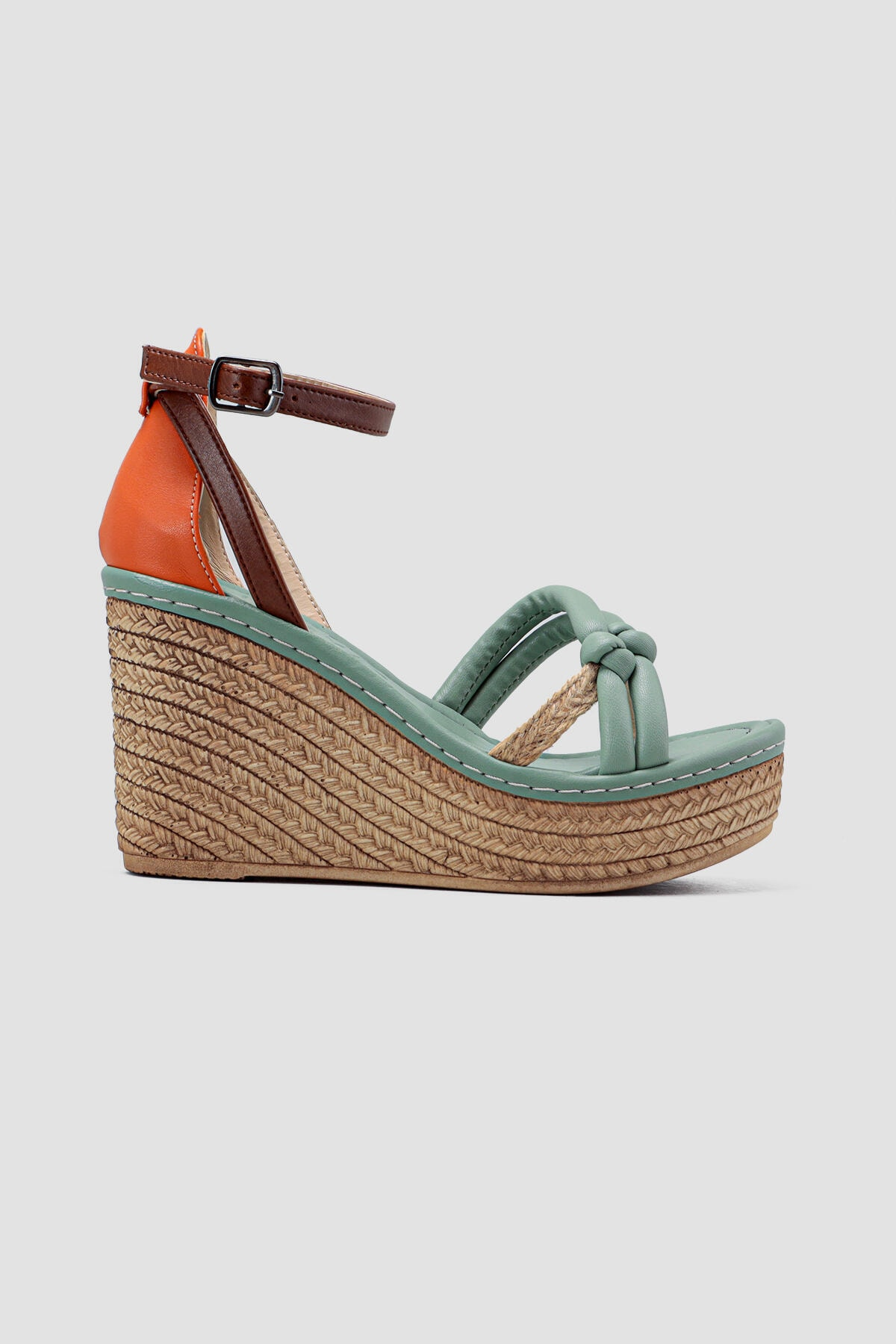 Kadın Yeşil Hasır Detaylı Yüksek Dolgu Topuklu Ayakkabı