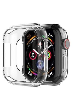 Apple Şeffaf Microsonic Watch Se 44mm 360 Uyumlu Full Round Soft Silicone  Kılıf 0