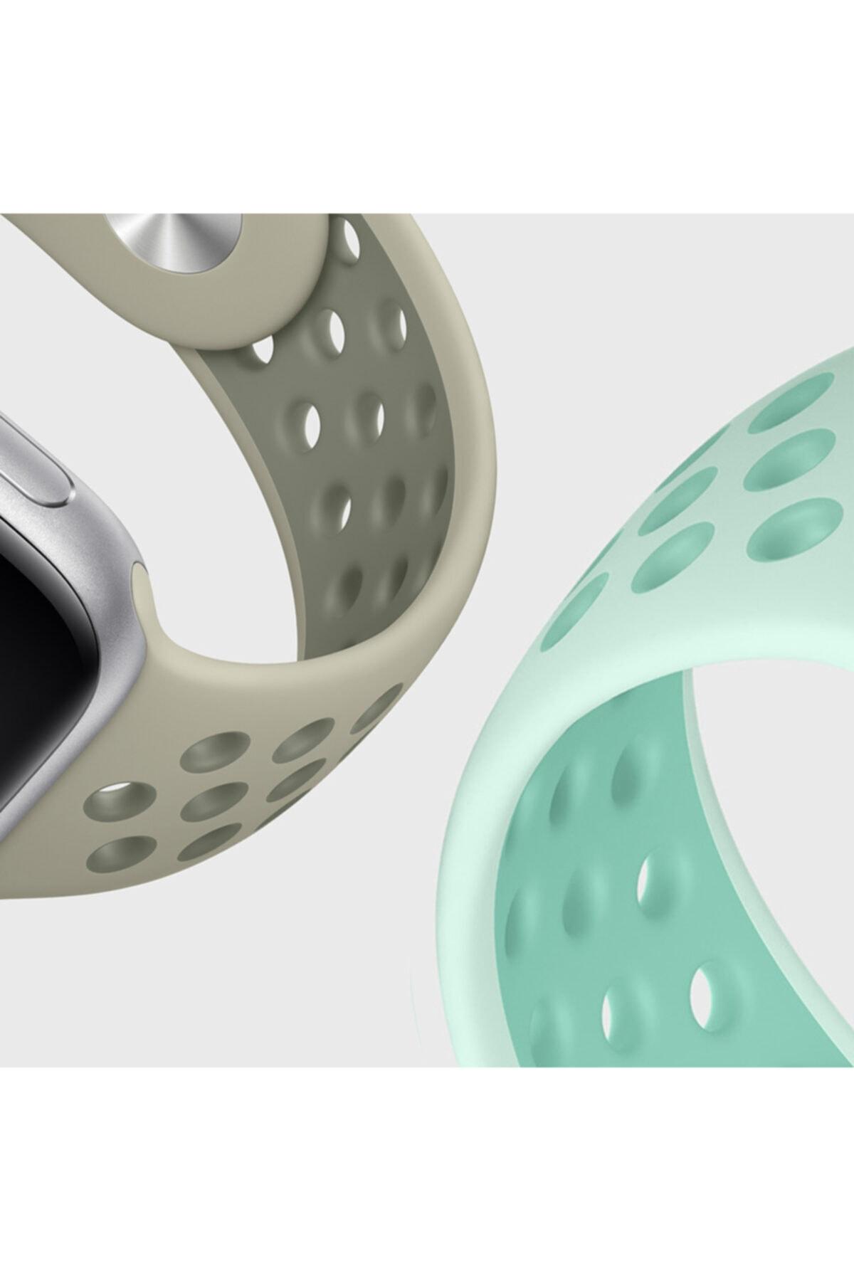Apple Microsonic Watch Se 40mm Uyumlu Rainbow Sport Band Kordon Lacivert Beyaz
