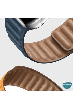 Apple Microsonic Watch Series 6 44mm Leather Link Band Lacivert Kordon 3