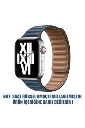 Apple Microsonic Watch Se 44mm Kordon Leather Link Band Lacivert 1
