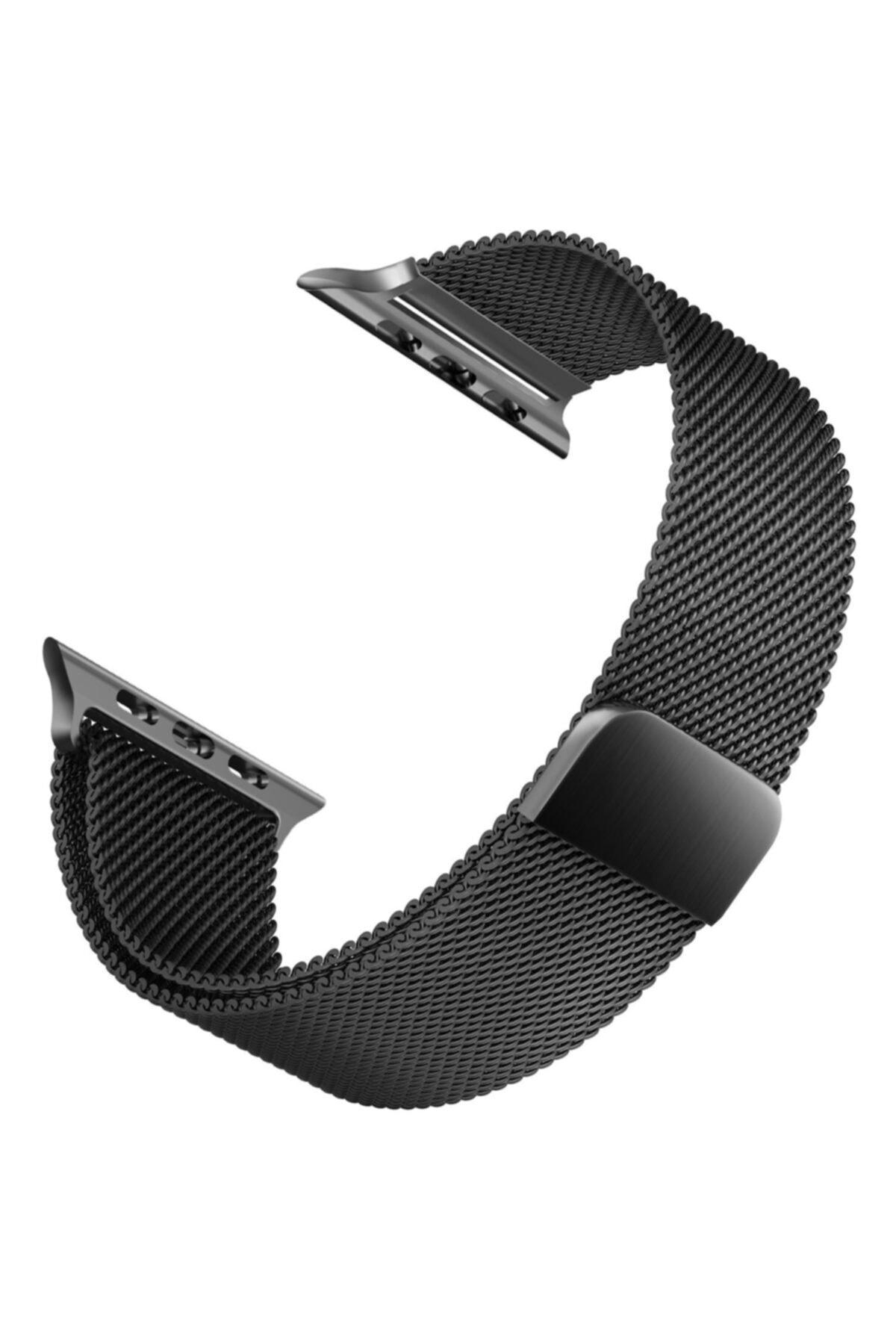 Apple Microsonic Watch Se 40mm Uyumlu Milanese Loop Kordon Siyah