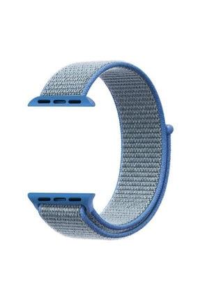 Apple Microsonic Watch Series 3 38mm Uyumlu Hasırlı Kordon Woven Sport Loop Tahoe Blue 2
