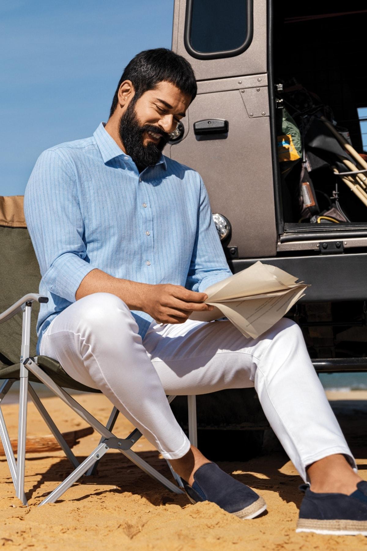Erkek Açık Mavi Tailored Slim Fit Klasik Gömlek Yaka %100 Koton Gömlek