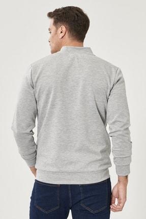 Altınyıldız Classics Erkek ACIK GRI MELANJ Standart Fit Günlük Rahat Fermuarlı Kolej Yaka Spor Sweatshirt 3