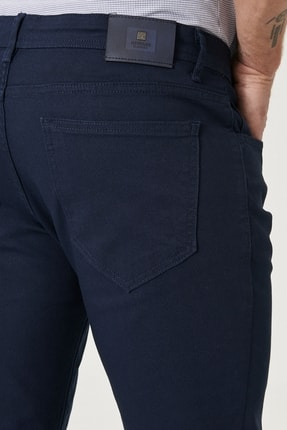 Altınyıldız Classics Erkek Lacivert Kanvas Slim Fit Dar Kesim 5 Cep Pantolon 3