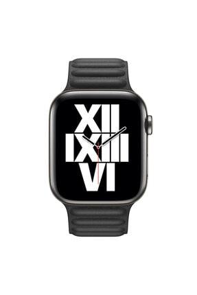 Apple Microsonic Watch Series 4 40mm Kordon Leather Link Band Siyah 2