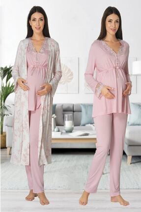 Effort Pijama Zerre Bebe Kadın Pembe Uzun Kollu Hamile Pijama Takımı 0