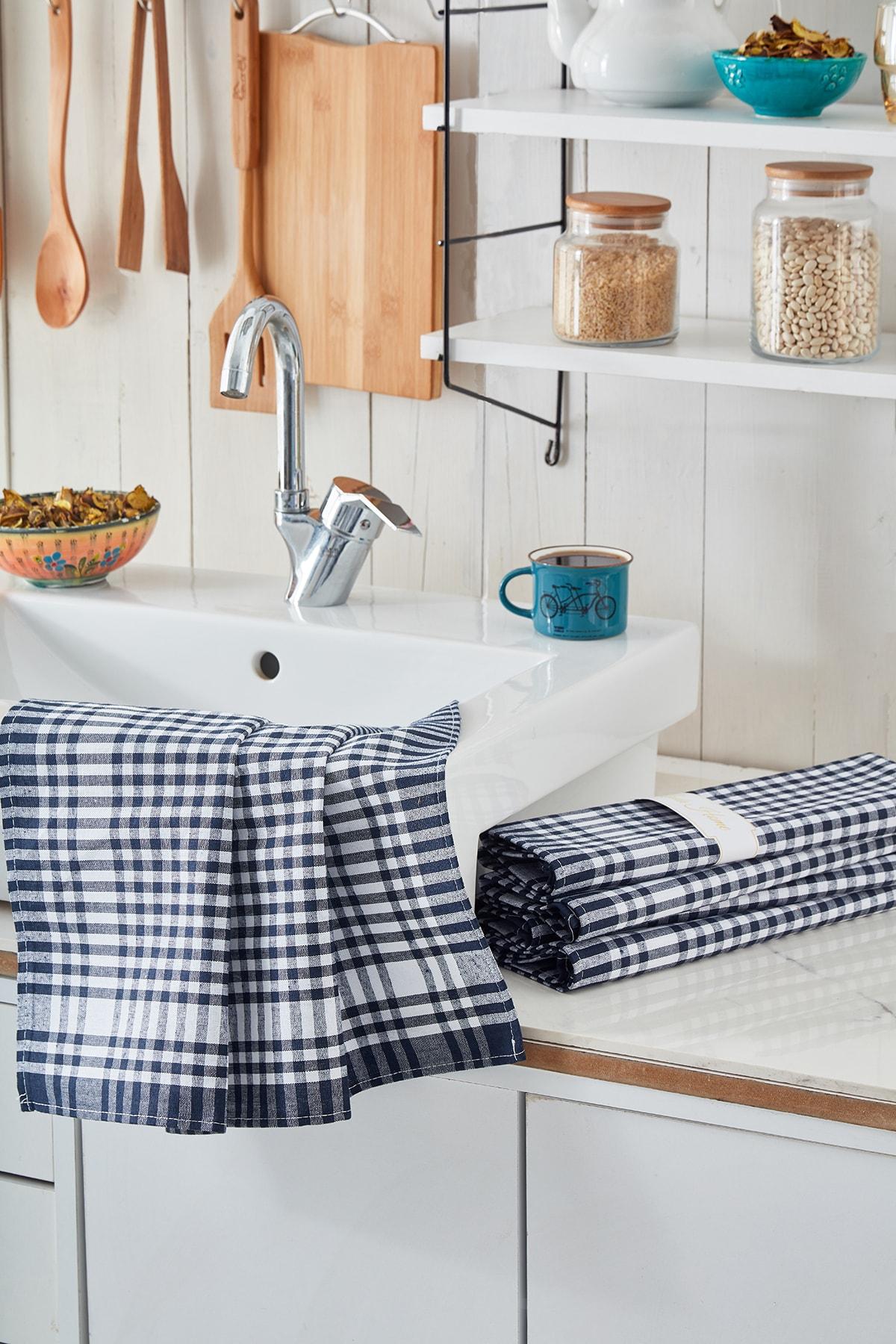 4'lü Mutfak Peçetesi Seti Koyu Mavi Renk Pöti Kareli Desen