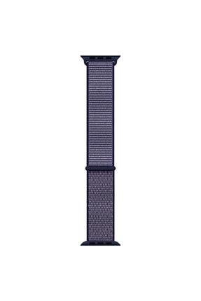 Apple Microsonic Watch Series 6 44mm Hasırlı Kordon Woven Sport Loop Lacivert 0