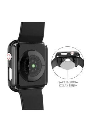 Apple Microsonic Watch Series 6 40mm Kılıf Matte Premium Slim Watchband Siyah 3